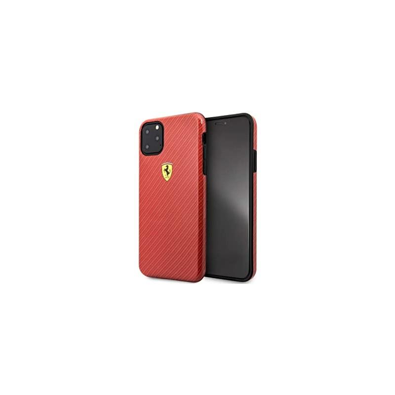 Coque Ferrari Effet Carbone Pour iPhone 11 Pro Max Rouge Tunisie