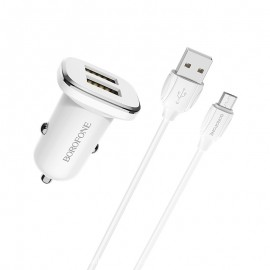 Chargeur Voiture Borofone Double Ports USB Avec Cable Micro-USB 2.4A