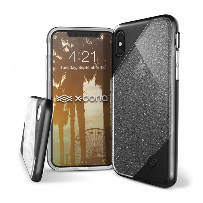 Etui pour iPhone X - X-doria Glitter Revel Lux - Noir